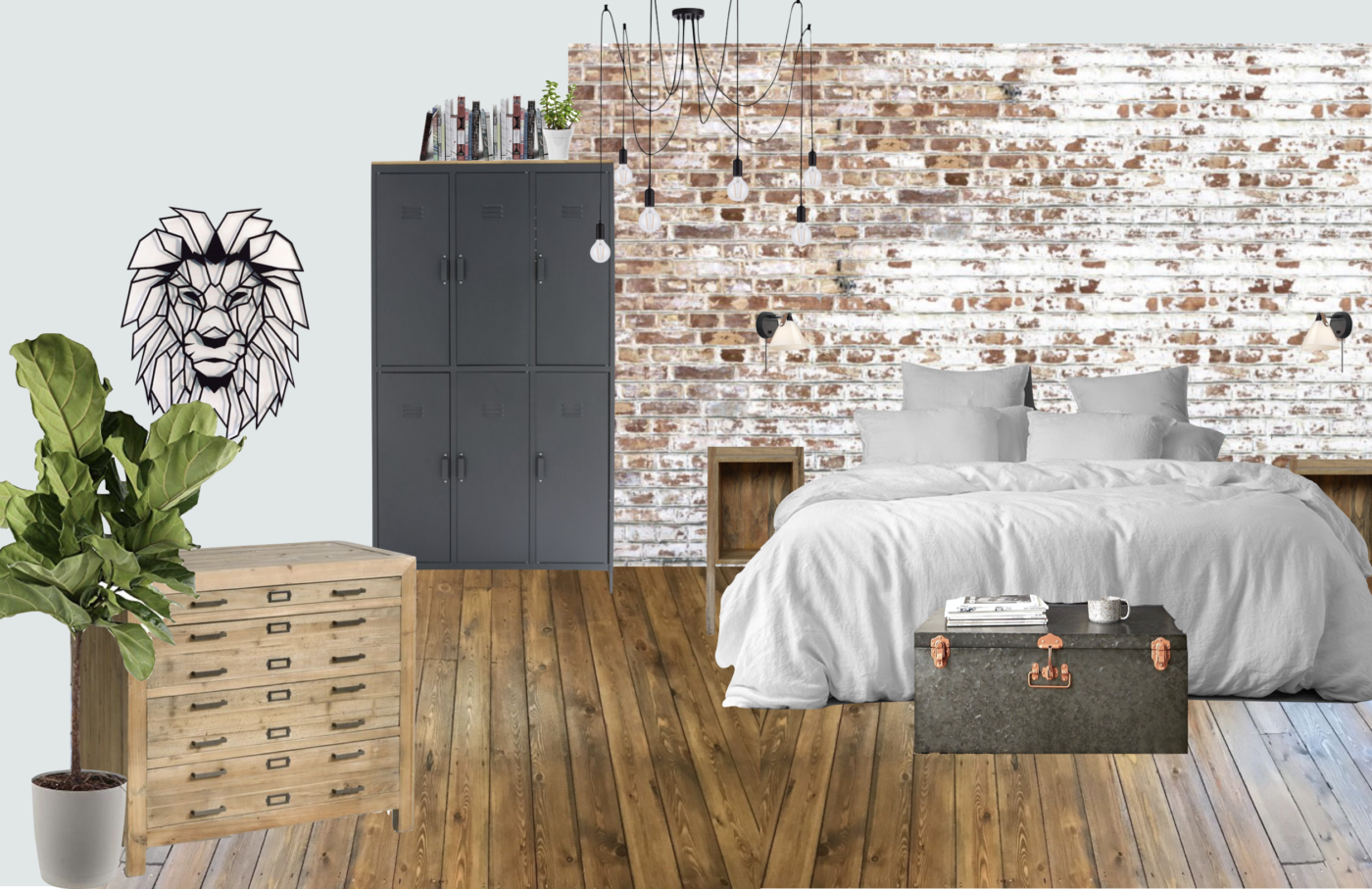 Brick Wall - Loft Bedroom Moodboard